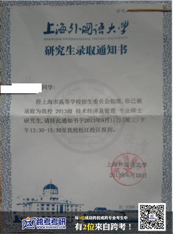 上海外国语大学2013考研录取通知书(跨考优秀学员)