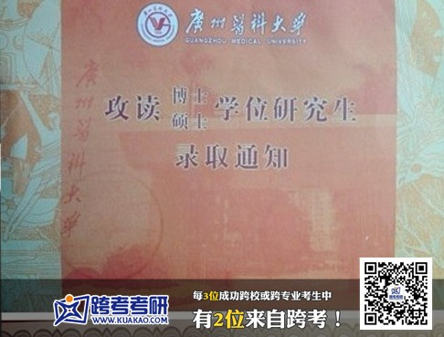 广州医科大学2013年考研录取通知书 跨考优秀学员