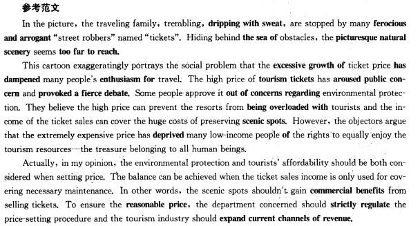 2014考研英语图画作文预测:旅游收费
